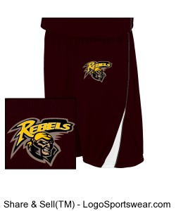 Maroon/White Reversible Game Shorts (9 Inch) Design Zoom